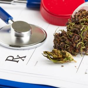 Stethoscope next to medical marijuana
